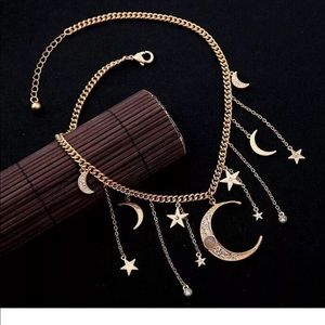 Crystal Star and Crescent Moon Dangle Necklace